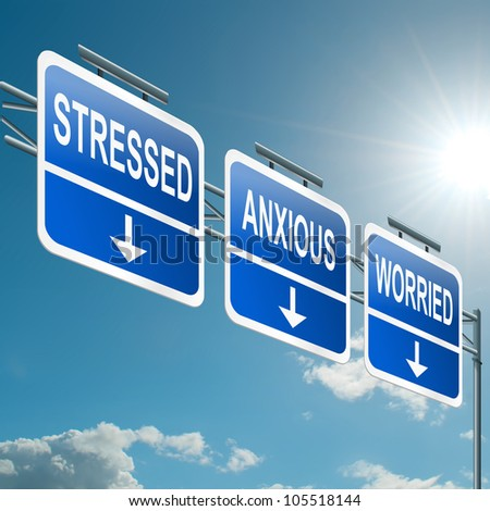Illustration depicting a highway gantry sign with a stress concept. Blue sky background. - stock photo