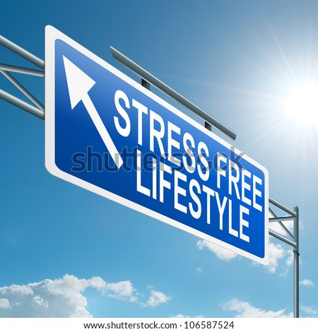 Illustration depicting a highway gantry sign with a stress free concept. Blue sky background. - stock photo