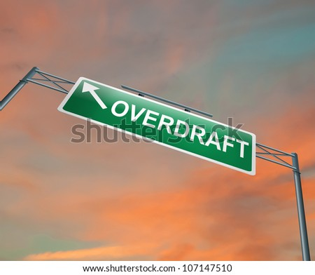 Illustration depicting a highway gantry sign with an overdraft concept. Sunset sky background. - stock photo