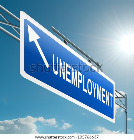 Illustration depicting a highway gantry sign with an unemployment concept. Blue sky background.