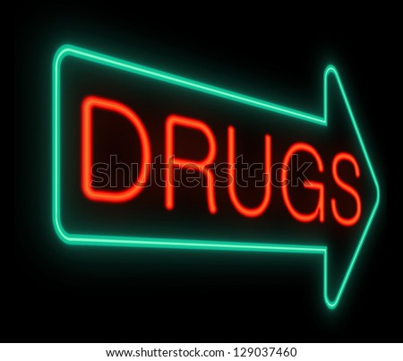 Illustration depicting a neon sign with a drugs concept.