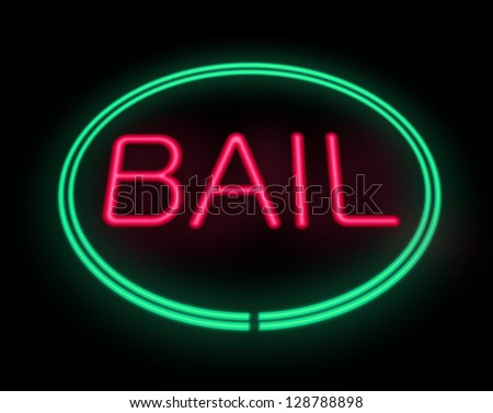 Illustration depicting a neon signage with a bail concept. - stock photo