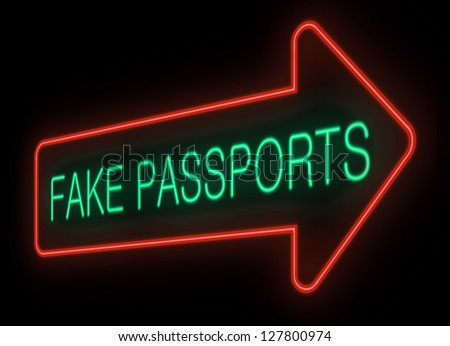 Illustration depicting a neon signage with a fake passports concept. - stock photo
