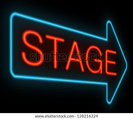 Illustration depicting a neon signage with a stage concept.