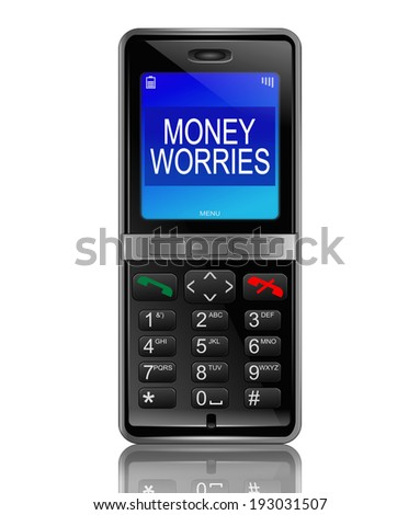 Illustration depicting a phone with a money worries concept.
