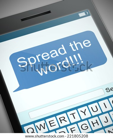 Illustration depicting a phone with a spread the word concept. - stock photo