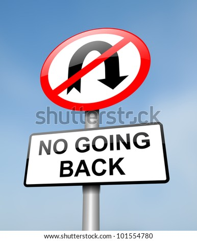 Illustration depicting a red and white road sign with a 'no going back' concept. Blurred blue sky background. - stock photo