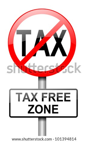 Illustration depicting a red and white road sign with a tax free concept. White background. - stock photo