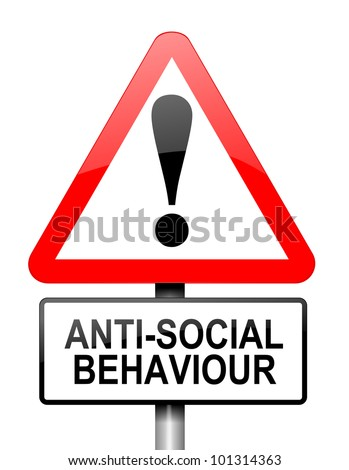 Illustration depicting a red and white triangular warning sign with a anti social behaviour concept. White background.