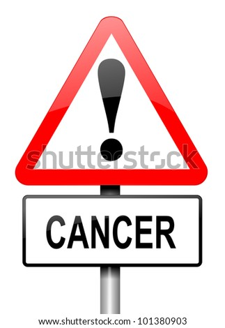 Illustration depicting a red and white triangular warning sign with a cancer warning concept. White background.