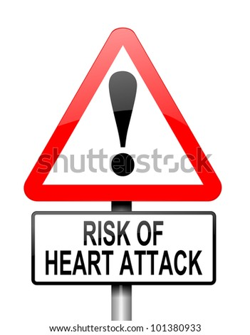 Illustration depicting a red and white triangular warning sign with a heart attack concept. White background.