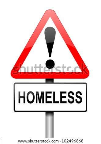 Illustration depicting a red and white triangular warning sign with a 'homeless' concept. White background.