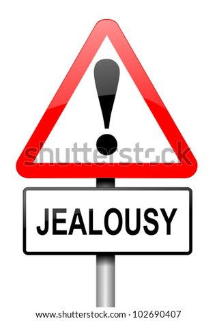 Illustration depicting a red and white triangular warning sign with a jealousy concept. White background.