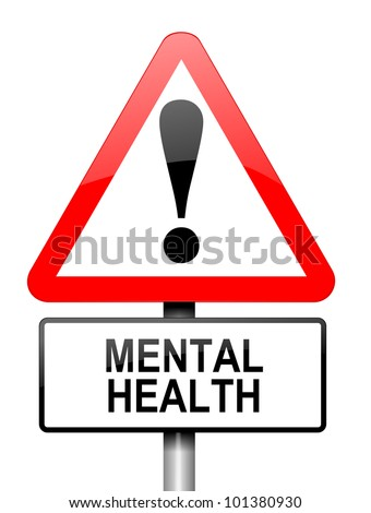 Illustration depicting a red and white triangular warning sign with a mental health concept.White background. - stock photo