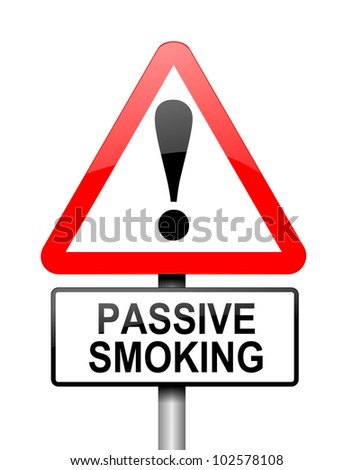 Illustration depicting a red and white triangular warning sign with a 'passive smoking' concept. White background. - stock photo