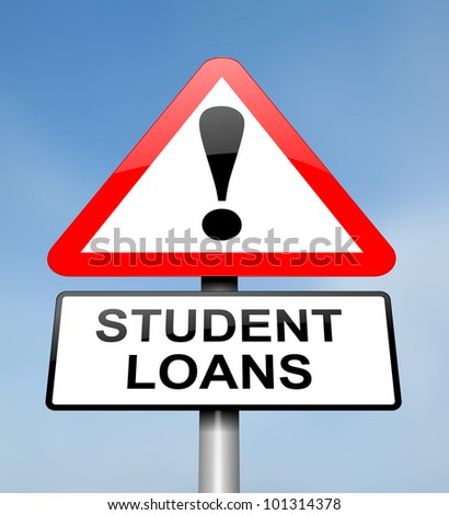 Illustration depicting a red and white triangular warning sign with a student loans concept. Blurred sky background. - stock photo