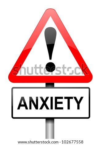 Illustration depicting a red and white triangular warning sign with an 'anxiety' concept. White background. - stock photo