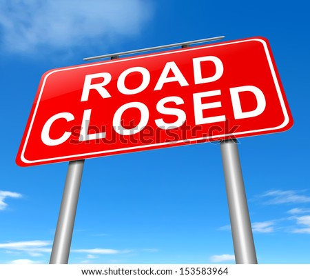 Illustration depicting a road closed sign with sky background. - stock photo
