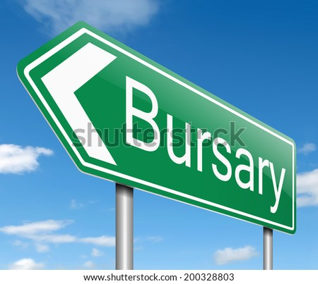 Illustration depicting a road sign with a bursary concept.