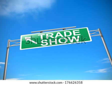 Illustration depicting a road sign with a Trade show concept. - stock photo