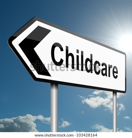 Illustration depicting a road traffic sign with a childcare concept. Blue sky background. - stock photo