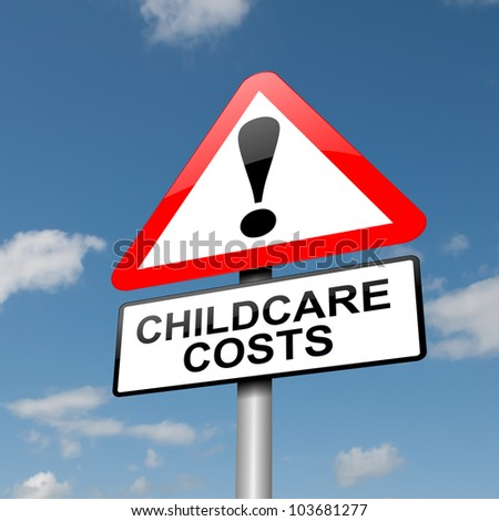 Illustration depicting a road traffic sign with a childcare cost concept. Blue sky background.