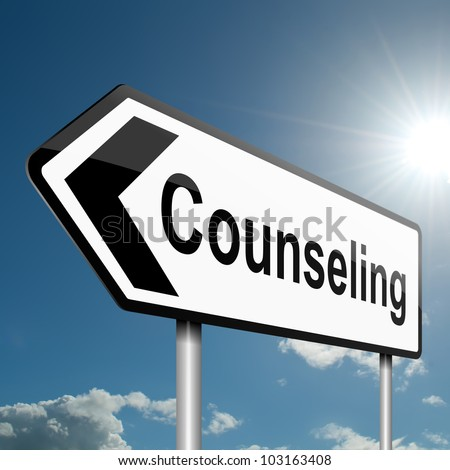 Illustration depicting a road traffic sign with a counseling concept. Blue sky background. - stock photo