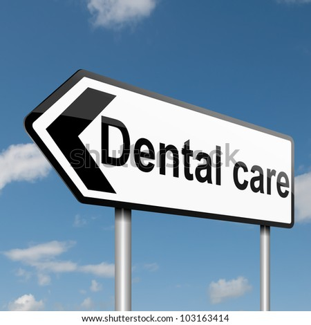Illustration depicting a road traffic sign with a Dental treatment concept. Blue sky background.