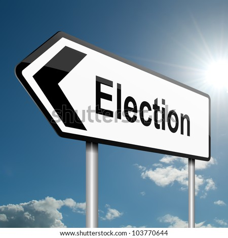 Illustration depicting a road traffic sign with a election concept. Blue sky background.