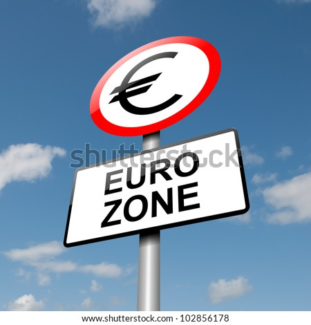 Illustration depicting a road traffic sign with a euro zone concept. Blue sky background. - stock photo