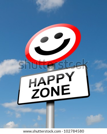 Illustration depicting a road traffic sign with a happiness concept. Blue sky background. - stock photo