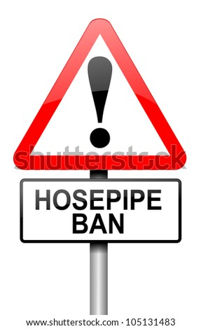 Illustration depicting a road traffic sign with a hose pipe ban concept. White background.