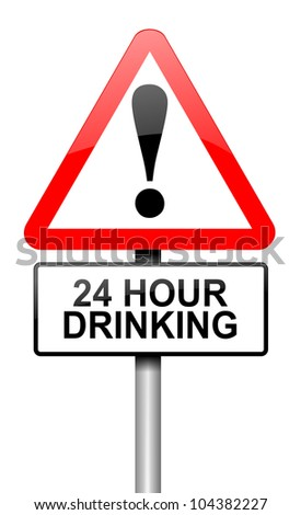 Illustration depicting a road traffic sign with a 24 hour drinking concept. White background.