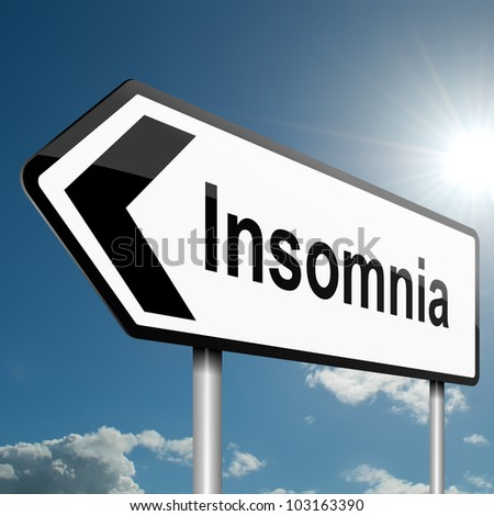 Illustration depicting a road traffic sign with a insomnia concept. Blue sky background. - stock photo