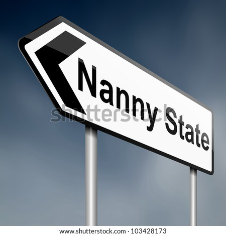 Illustration depicting a road traffic sign with a nanny state concept. Sky background.