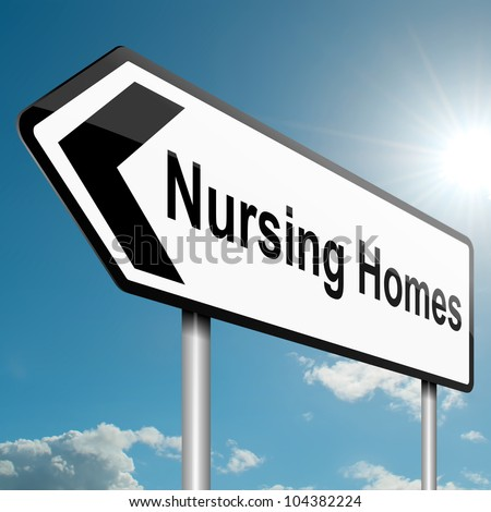 Illustration depicting a road traffic sign with a nursing home concept. Blue sky background.