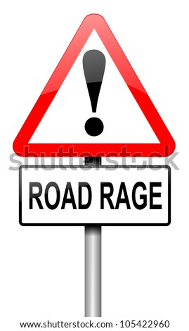 Illustration depicting a road traffic sign with a road rage concept. White background. - stock photo