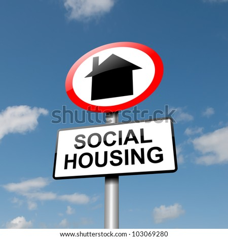 Illustration depicting a road traffic sign with a social housing concept. Blue sky background. - stock photo