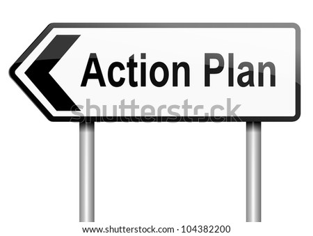 Illustration depicting a road traffic sign with an action plan concept. White background. - stock photo