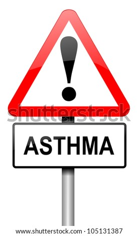 Illustration depicting a road traffic sign with an asthma concept. White background.