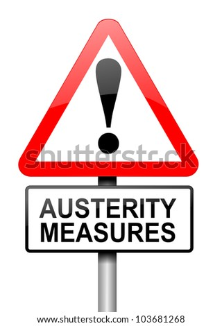 Illustration depicting a road traffic sign with an austerity concept. White background. - stock photo