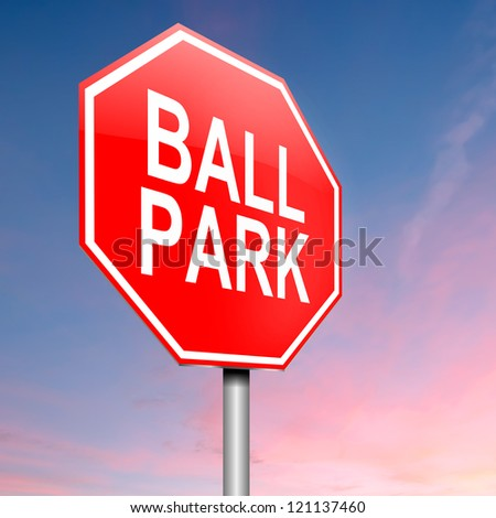 Illustration depicting a roadsign with a ball park concept. Sky background. - stock photo
