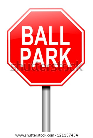 Illustration depicting a roadsign with a ball park concept. White background. - stock photo