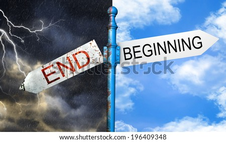 Illustration depicting a roadsign with a beginning or ending concept. Night storm sky and blue sky background.  - stock photo