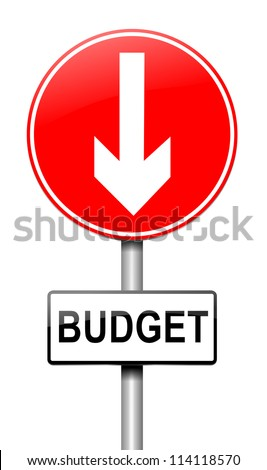 Illustration depicting a roadsign with a budget concept. White background. - stock photo