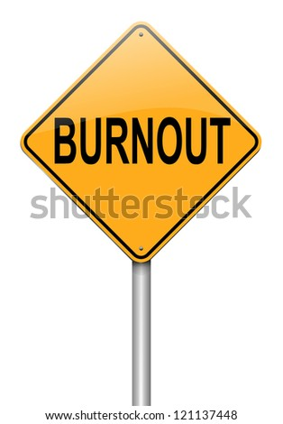 Illustration depicting a roadsign with a burnout concept. White background. - stock photo