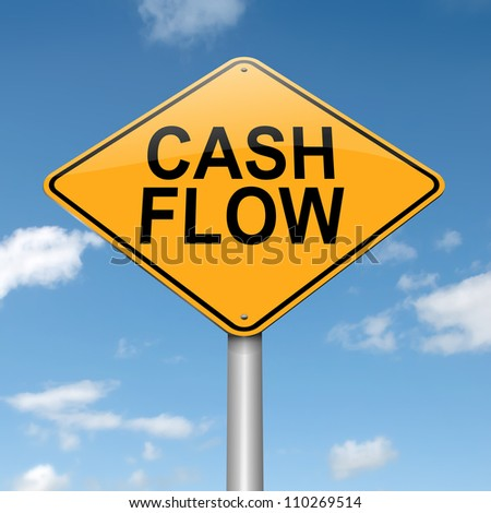 Illustration depicting a roadsign with a cash flow concept. Blue sky background. - stock photo