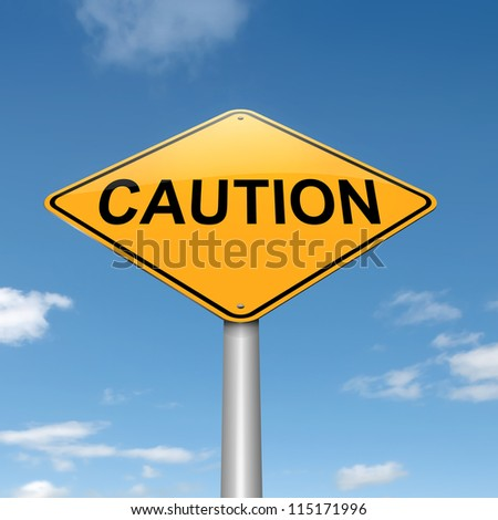 Illustration depicting a roadsign with a caution concept. Sky background.
