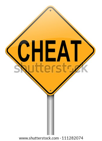 Illustration depicting a roadsign with a cheat concept. White background.