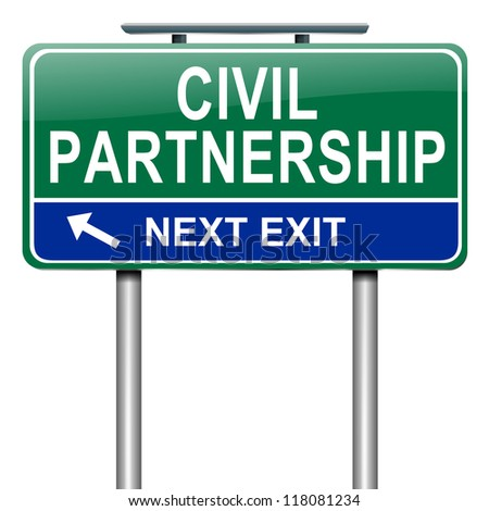 Illustration depicting a roadsign with a civil partnership concept. White background.